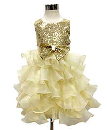 Pre Order - Awabox Glittery Yoke With Bow On Waist Layered Party Dress - Golden