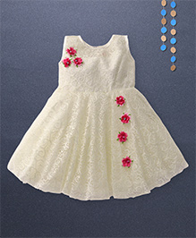 Kaia Fashion Lace Dress With Floral Applique - Cream