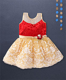 Kaia Fashion Net Velvet Frill Dress With Floral Applique - Cream & Red