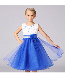 Pre Order - Awabox Lace & Shimmery Dress With Flower Applique - Blue