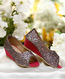 D'chica Blingy Wedge Heel Peep Toes For Girls - Multicolour