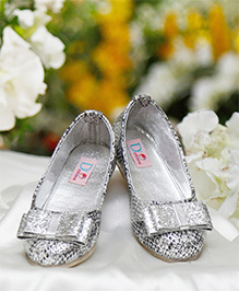 D'chica Blingy Bow Ballernias For Girls - Silver