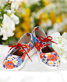 D'chica Floral Lace Up Sneakers For Girls - Multicolour