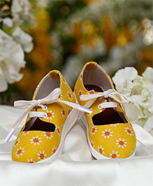 D'chica Funky Lace Up Sneakers For Girls - Yellow
