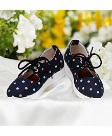 D'chica Polka Love Tie Up Sneakers For Girls - Blue