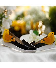 D'chica Bird Applique Ballernias For Girls - Black