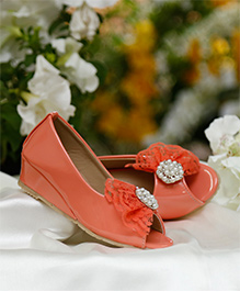 D'chica Pearl Embelished Peep Toes - Coral Peach