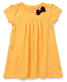 Zero Short Sleeves Frock Bow Applique - Yellow