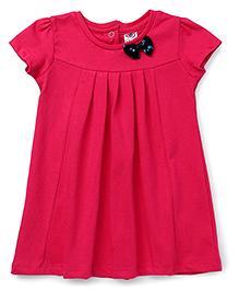Zero Short Sleeves Frock Bow Applique - Dark Pink