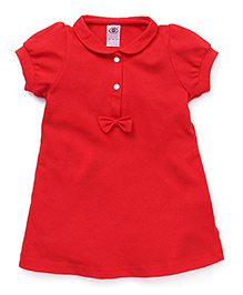 Zero Puff Sleeves Frock Bow Applique - Red