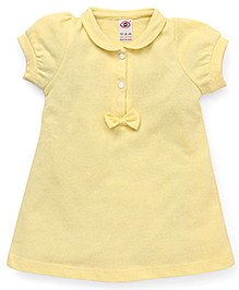 Zero Puff Sleeves Frock Bow Applique - Light Yellow