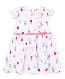 Zero Cap Sleeves All Over Ice Cream Print - Pink & White