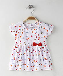 Zero Short Sleeves Dotted Frock Bow Applique - White Red