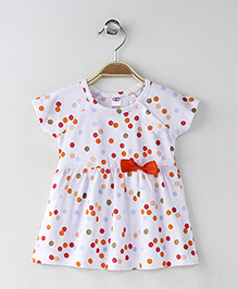 Zero Short Sleeves Dotted Frock Bow Applique - White Orange