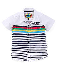 Vitamins Half Sleeves Shirt Stripes and Embroidered - White Navy Blue