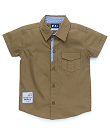 Little Kangaroos Half Sleeves Solid Color Shirt - Khaki