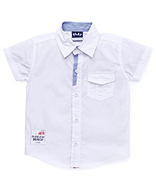 Little Kangaroos Half Sleeves Solid Color Shirt - White