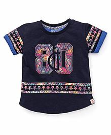 Gini & Jony Half Sleeves T-Shirt Star & Numeric 80 Print - Navy