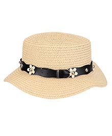 Babyhug Floral Motifs Design Hat - Cream