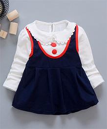 Tickles 4 U Peter Pan Collor Solid Color Dress - Navy Blue