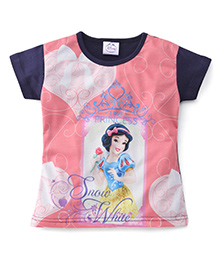 Eteenz Short Sleeves Top Snow White Print - Navy