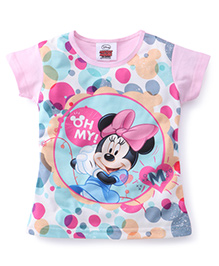 Eteenz Short Sleeves Polka Dot Top Minnie Mouse Print - Pink White