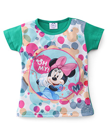 Eteenz Short Sleeves Polka Dot Top Minnie Mouse Print - Green White