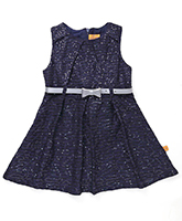 Yellow Duck Party Wear Sequin Frock With Belt - Navy