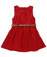 Yellow Duck Party Wear Sequin Frock With Belt - Red