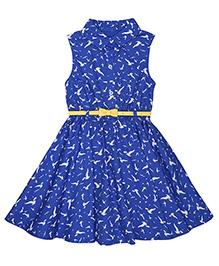 Mothercare Sleeveless Dress With Belt - Blue