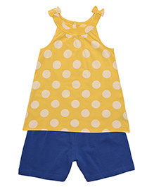 Mothercare Sleeveless Top & Shorts Polka Dots - Yellow & Royal Blue