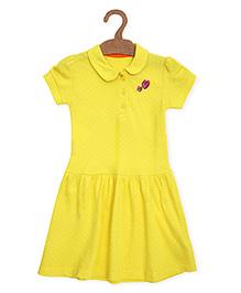 Mothercare Short Sleeves Frock Dots Print - Yellow