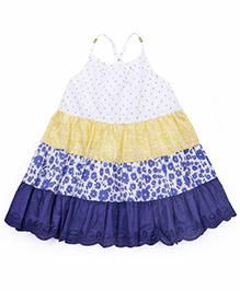 Mothercare Singlet Tiered Patchwork Dress - Blue & Yellow