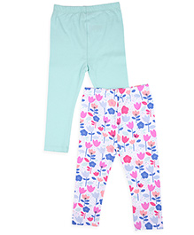 Mothercare Floral Printed And Solid Color Leggings Set Of 2 - Aqua White