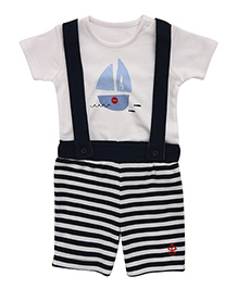 Mothercare T-Shirt And Striped Dungaree Set - White Navy