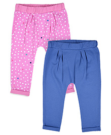 Mothercare Dotted And Solid Color Pajama Set Of 2 - Pink Blue