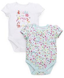 Mothercare Short Sleeves Onesies Pack Of 2 - Light Green & White
