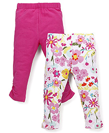 Mothercare Floral And Plain Leggings Pack Of 2 - Dark Pink And Multicolor