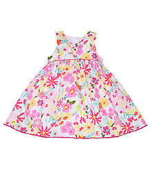 Mothercare Sleeveless Frock Floral Print - White Pink
