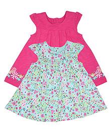Mothercare Cap Sleeves Frocks Pack of 2 - Pink Sea Green
