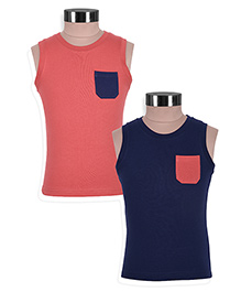 Mothercare Sleeveless T-Shirts With Pockets Set Of 2 - Peach Navy