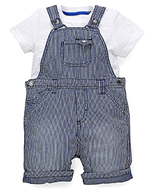 Mothercare Half Sleeves T-Shirt With Pin Stripe Dungaree - White And Denim Blue