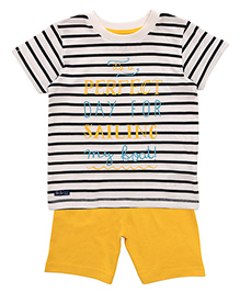 Mothercare Half Sleeves Striped T-Shirt And Shorts Set - White Yellow