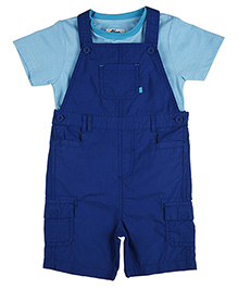 Mothercare Solid Color Dungaree With Striped Tee Set - Blue