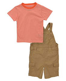 Mothercare Solid Color Dungaree With Striped Tee Set - Peach And Brown