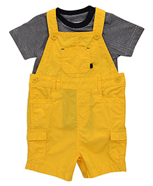 Mothercare Solid Color Dungaree With Striped Tee Set - Yellow