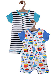 Mothercare Short Sleeves Romper Boat Print Pack Of 2 - Multicolor
