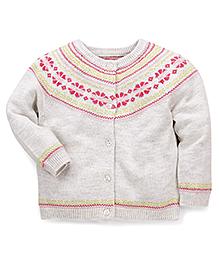 Mothercare Full Sleeves Designer Cardigan Sweater - Off White