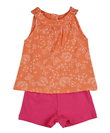 Mothercare Sleeveless Butterfly Printed T-Shirt And Short Set - Orange Pink