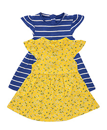 Mothercare Cap Sleeves Dress Floral And Stripe Print Pack Of 2 - Blue & Yellow